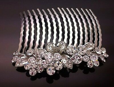 Flower Diamante Formal Bridal Wedding Crystal Large Hair Comb Clip Diamante 8cm