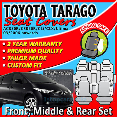 TOYOTA TARAGO 8-Seat MARCH/2006+ GREY CUSTOM FIT SEAT COVERS 3ROWS ACR50R/GSR50R