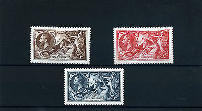 Gb 1934 Re-Engraved Seahorses 3 Values Superb Royal Mail Official Reproductions
