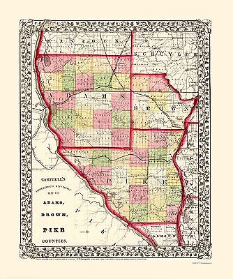 Old County Map - Adams, Brown, Pike Illinois - Campbell 1850 - 23 x 27.53