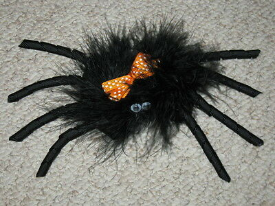 "NEW ""SPIDER FUZZY"" Halloween Hair Bow Girls Fall Festival Hairbow Marabou Clip"