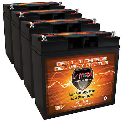 QTY 4 Veloteq Commuter GT RSV-GT 500ZX-GT Comp. 20Ah 12V VMAX600 Scooter Battery