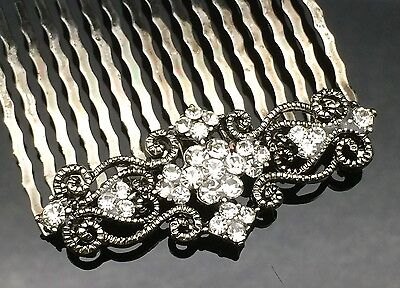 Vintage Formal Bridal Wedding Crystal Hair Comb Clip Bridesmaid Diamante Gray