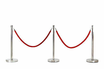 3x Queue Barriers + 2 Ropes Crowd Control Bollards Stands