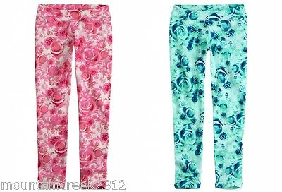 JUSTICE Girl/'s Leggings Size 7 8 10 Floral Print Cotton Stretch U Pick Color New