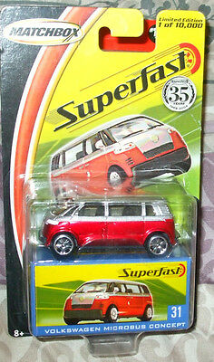 2004 Matchbox Superfast #31 Red Silver VW Microbus Concept 1 of 10k China