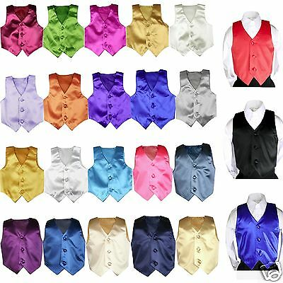 New Boys Satin Vest only Baby Toddler Formal Party Boy Suit Tuxedo 23 Color S-7