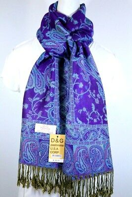 DG Women's Pashmina Scarf Shawl Paisley.Purple Black Silk Cashmere,Soft.