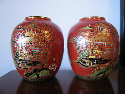 Vintage Deco Pair of Carlton Ware Chinese Influenced English Porcelain Vases