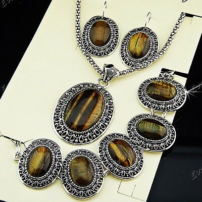 Antique Silver P Natural Tiger Stone Earring Bracelet Necklace Women Jewelry Set
