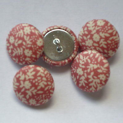 Fabric Covered Buttons - Salmon Pink with White - 2cm
