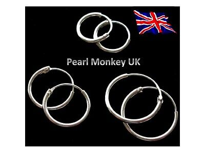 925 Sterling Silver Creole Earring Hoops - 11, 13, 15, 18 mm Pick your size!