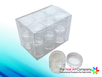 12x 10ml Clear Storage Bottles Pots in Case Ideal for Nail Art Gems Rhinestones