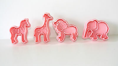 ZOO Animal Pastry, Sugarcraft Ejector Cutters 4 Cutters in Pack Cake Decorating