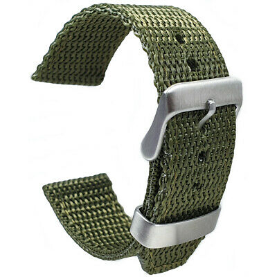Olive Green Tough Woven Nylon Webbing Military Watch Strap 18mm 20mm