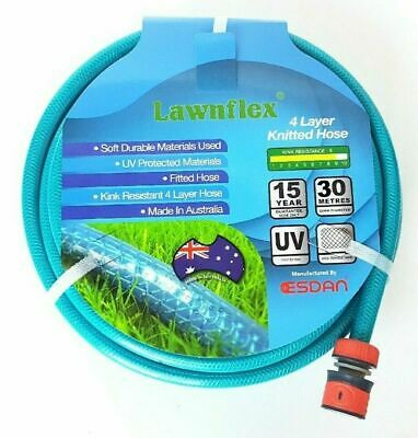 KNITTED GARDEN LAWN WATERING HOSE PIPE 12mm x 30m ANTI KINK AUSTRALIAN ESDAN