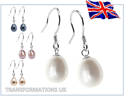 Genuine Freshwater Pearl Drop - Hook Earrings - 925 Sterling Silver - 4 Colours