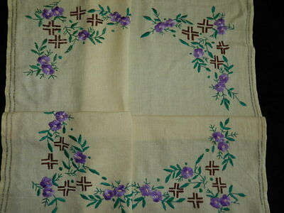 """vintage hand embroidered tablecloth  Dimensions  33""""/29.5""""  n5850"""
