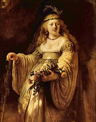 Oil painting Rembrandt - Portrait of Saskia holding flowers no framed on canvas