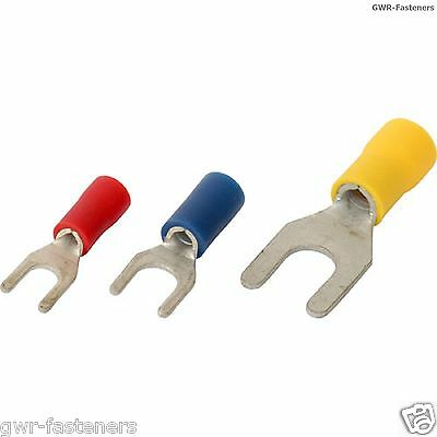 Fork Electrical Crimp Terminals - Connector - Red Blue Yellow