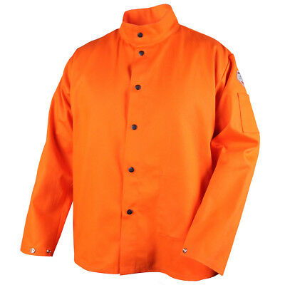 "Revco 9 oz FR Flame Resistant 30"" Orange Cotton Welding Jacket Size Large"