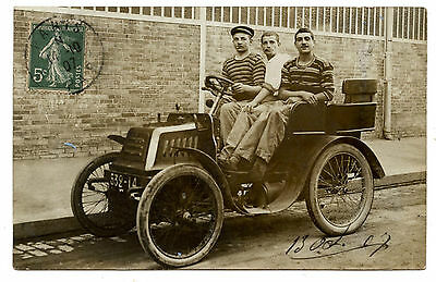 ( 1 ) CARTE PHOTO.AUTOMOBILE ANCIENNE.MOTO CAR.SIGNé CHARLES EUGENE 13 / 07.