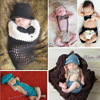 New Baby Boy Crochet Beanie Costume Outfit Set Hat 0-3 3-6 Mhts Photo Props