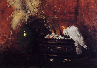 Oil painting William Merritt Chase - Still Life with Cockatoo bird parrot canvas