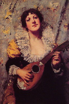 Stunning Oil painting William Merritt Chase - Young woman & The Mandolin Player