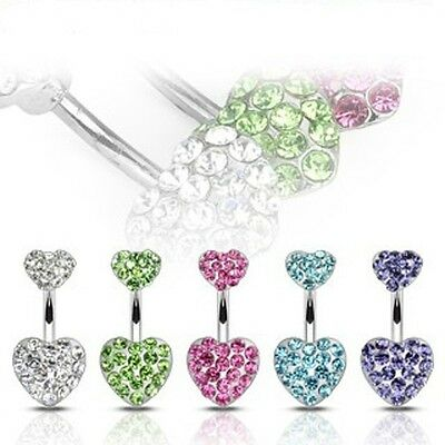 5 lot Jeweled Double Heart Gem BELLY Button NAVEL RINGS Body Piercing Jewelry