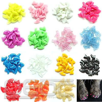 New Charm 20pcs Soft Dog Pet Nail Caps Claw Control Paws off + Adhesive Glue#