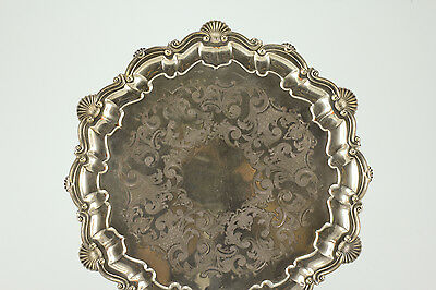 Cheltenham & Co Silverplate Footed Serving Tray, Hand Engraved w/ Hallmark