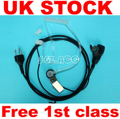 earpiece headset mic covert acoustic tube for Icom Walkie Talkie two pin plug