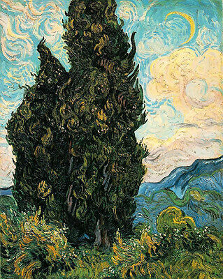 Art Oil painting Vincent Van Gogh - Cypresses in summer landscape in cloudy