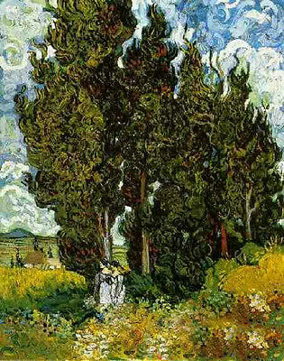 Art Oil painting Vincent Van Gogh - Cypresses in noon landscape in cloudy canvas