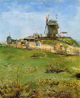Oil painting Vincent Van Gogh - Landscape and windmills in spring canvas