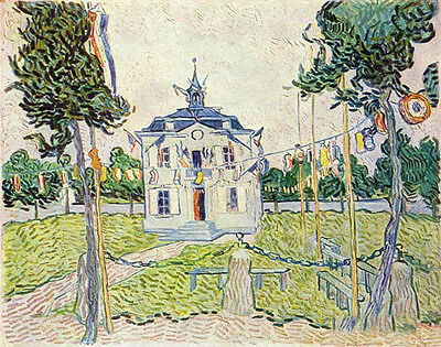 Beautiful art Oil painting Vincent Van Gogh - Auvers Town Hall on July