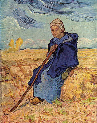 Oil painting Vincent Van Gogh - old woman sitting with sheep in landscape