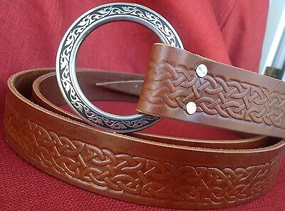 Celtic Knotwork Ring Belt! Black or Chestnut SCA, Faire, Sword, Rennie, Medieval