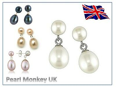 Pearl Stud & Drop Earrings - Genuine Freshwater - 4 Colour Options - 925 Sliver