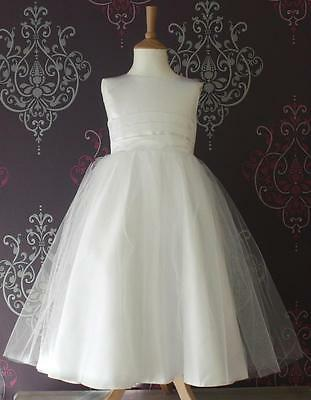 Flower Girl Dress Bridesmaid Pageant Wedding Ivory/White Baby Satin Band Belle