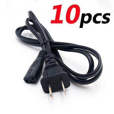 Lot 10 US 2 Prong 2Pin AC Power Cord Cable Charge Adapter PC Laptop PS2 PS3 Slim