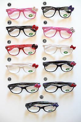 f768993d9de Hello Kitty Bow Bowknot Glasses Frame w Opti Clear Lens Spring Temple Frame  Lens