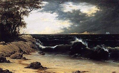 Oil painting Martin Johnson Heade - Storm Clouds over the Coast with waves 36""