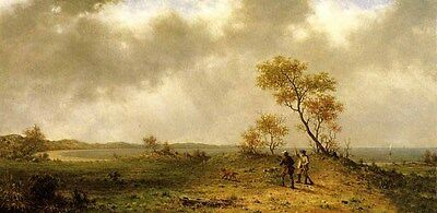 Nice Oil Martin Johnson Heade - Two Hunters in a Landscape with dog canvas