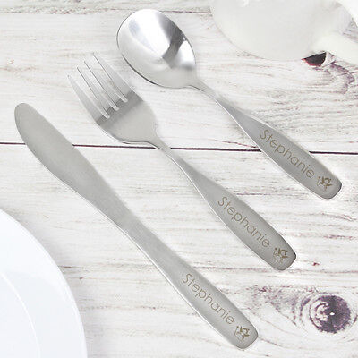 Personalised Engraved Childrens Cutlery set Gift boxed kids Birthday Christening