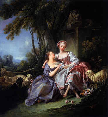 Art Beautiful Oil painting francois boucher - Beauty with love letter and sheep