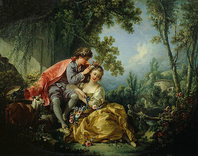 Dream-art Oil painting francois boucher - Young lovers shepherdess in spring 36""