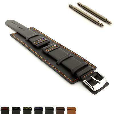 Men's Genuine Leather Watch Strap Band Wrist Pad Cuff 18 20 22 24 SOLAR MM