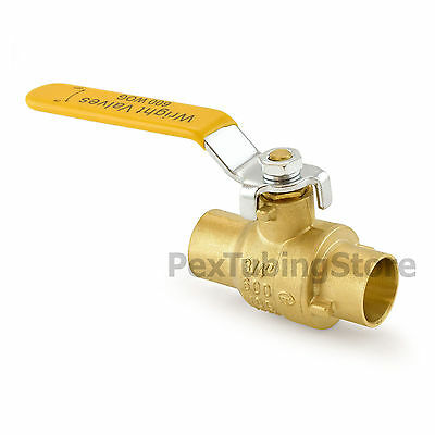 "3/4"" Sweat (CxC) Brass Ball Valve Full Port, Shut-Off Valves, 600psi WOG"